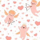 Ρομαντικό άνευ ραφής σχέδιο ημέρας βαλεντίνων με χαριτωμένο Στοκ Εικόνες