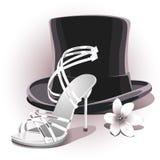 Ρομαντικό άσπρο γαμήλιο παπούτσι ελεύθερη απεικόνιση δικαιώματος
