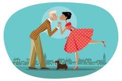 Ρομαντικό αναδρομικό φίλημα ζευγών Στοκ Φωτογραφία