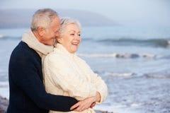 Ρομαντικό ανώτερο ζεύγος στη χειμερινή παραλία στοκ εικόνες