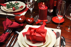 Ρομαντικό γεύμα βαλεντίνων για δύο Στοκ Εικόνες