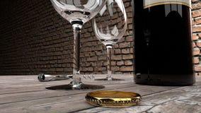 Ρομαντικό γεύμα, δέσμευση, χρυσό δαχτυλίδι για επιλεγμένο στοκ εικόνα