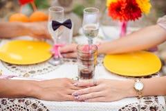 Ρομαντικό γεύμα στην έννοια φύσης Στοκ φωτογραφία με δικαίωμα ελεύθερης χρήσης