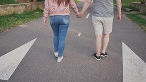 Ρομαντικό ζεύγος σε ένα πράσινο πάρκο το καλοκαίρι Περπατούν και κρατούν τα χέρια, που πλησιάζουν τη γέφυρα απόθεμα βίντεο
