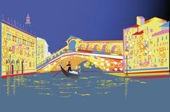 Ρομαντικό ζεύγος στα ταξίδια γονδολών κατά μήκος του μεγάλου καναλιού στην Ιταλία απεικόνιση αποθεμάτων