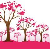 Ρομαντικό ζωηρόχρωμο σχέδιο καρτών με τις ρόδινες καρδιές διανυσματική απεικόνιση