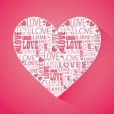 Ρομαντικό ζωηρόχρωμο σχέδιο καρτών με τις ρόδινες καρδιές απεικόνιση αποθεμάτων