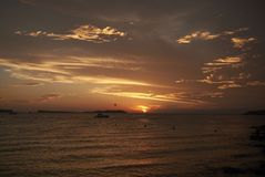 Ρομαντικό ηλιοβασίλεμα Sant Antony de Portmany Στοκ εικόνα με δικαίωμα ελεύθερης χρήσης