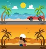 Ρομαντικό ηλιοβασίλεμα και σπορ αυτοκίνητο προσοχής εραστών στην παραλία απεικόνιση αποθεμάτων