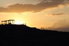 Ρομαντικό ηλιοβασίλεμα στο λόφο Στοκ φωτογραφίες με δικαίωμα ελεύθερης χρήσης