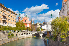 Ρομαντικό μεσαιωνικό Λουμπλιάνα, Σλοβενία, Ευρώπη Στοκ εικόνες με δικαίωμα ελεύθερης χρήσης