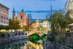 Ρομαντικό μεσαιωνικό Λουμπλιάνα, Σλοβενία, Ευρώπη Στοκ εικόνα με δικαίωμα ελεύθερης χρήσης