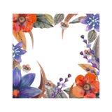 Ρομαντικό πλαίσιο Σκεφτείτε ευτυχής η επαγγελματική κάρτα επηρεάζει τις κλίσεις κανένα πρότυπο Wildflowers στο watercolor ελεύθερη απεικόνιση δικαιώματος