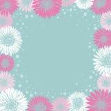 Ρομαντικό πλαίσιο με τα ζωηρόχρωμα λουλούδια διανυσματική απεικόνιση