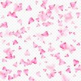 Ρομαντικό υπόβαθρο ημέρας βαλεντίνων της ρόδινης πτώσης πετάλων καρδιών Ρεαλιστικό πέταλο λουλουδιών στη μορφή του κομφετί καρδιώ διανυσματική απεικόνιση