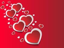 Ρομαντικό υπόβαθρο καρδιών που απομονώνεται στο κόκκινο υπόβαθρο απεικόνιση αποθεμάτων