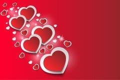 Ρομαντικό υπόβαθρο καρδιών, που απομονώνονται στο κόκκινο υπόβαθρο, αστέρια, ακτινοβολία απεικόνιση αποθεμάτων