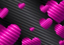 Ρομαντικό υπόβαθρο με τις ρόδινες, πορφυρές καρδιές σε ένα μαύρο υπόβαθρο απεικόνιση αποθεμάτων