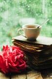 Ρομαντικό υπόβαθρο με το φλυτζάνι του τσαγιού, των λουλουδιών και του ανοικτού βιβλίου Στοκ εικόνες με δικαίωμα ελεύθερης χρήσης