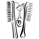 Ρομαντικό φιλί, δύο δημιουργικές χτένες, αυτός και αυτή διανυσματική απεικόνιση