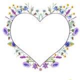 Ρομαντικό χαριτωμένο στεφάνι λουλουδιών με τους πράσινους κλάδους και τα φύλλα Απεικόνιση Watercolor απομονωμένο στο λευκό υπόβαθ διανυσματική απεικόνιση