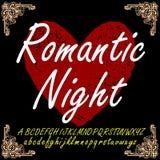 Ρομαντικό χειρόγραφο πηγών χαρακτήρων νύχτας Στοκ Φωτογραφίες