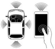 Ρομποτική έννοια μορφής αυτοκινήτων Driverless, άποψη άνωθεν Στοκ εικόνα με δικαίωμα ελεύθερης χρήσης