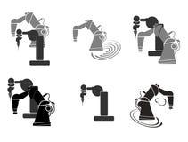 Ρομποτική, χέρι ρομπότ, ρομπότ αφηρημένη απεικόνιση υποβάθρου εικονιδίων καθορισμένη Στοκ φωτογραφία με δικαίωμα ελεύθερης χρήσης