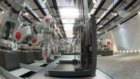 Ρομποτικός βραχίονας που συγκεντρώνει τον τρισδιάστατο εκτυπωτή στη ζώνη μεταφορέων απόθεμα βίντεο