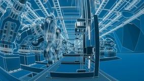 Ρομποτικός βραχίονας που συγκεντρώνει τον τρισδιάστατο εκτυπωτή στη ζώνη μεταφορέων απεικόνιση αποθεμάτων