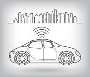 Ρομποτικό αυτοκίνητο Driverless, γραφικό σύμβολο της μόνος-οδήγησης του αυτοκινήτου στην πόλη Στοκ φωτογραφία με δικαίωμα ελεύθερης χρήσης
