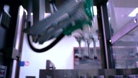 Ρομποτικό εργοστάσιο βραχιόνων Βραχίονας ρομπότ στη συσκευάζοντας γραμμή Αυτοματοποιημένος εξοπλισμός παραγωγής απόθεμα βίντεο