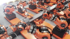 Ρομποτικό εργοστάσιο που συγκεντρώνει τον τρισδιάστατο εκτυπωτή στη ζώνη μεταφορέων 4K ζωτικότητα διανυσματική απεικόνιση