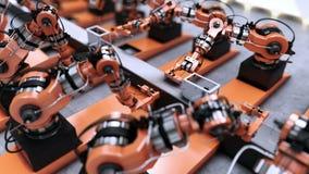 Ρομποτικό εργοστάσιο που συγκεντρώνει τον τρισδιάστατο εκτυπωτή στη ζώνη μεταφορέων 4K ζωτικότητα ελεύθερη απεικόνιση δικαιώματος
