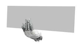 Ρομποτικό κενό σημάδι εκμετάλλευσης χεριών για να βάλει τη λέξη ή το λογότυπό σας Στοκ Εικόνες