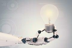 Ρομποτικό χέρι με τη λάμπα φωτός ελεύθερη απεικόνιση δικαιώματος
