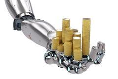Ρομποτικό χέρι που κρατά τα χρυσά νομίσματα Στοκ εικόνα με δικαίωμα ελεύθερης χρήσης