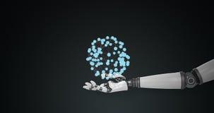 Ρομποτικό χέρι που παρουσιάζει τη δομή πολυγώνων στο μαύρο κλίμα διανυσματική απεικόνιση