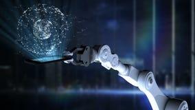 Ρομποτικό χέρι που παρουσιάζει το φωτισμένο κινητό τηλέφωνο με τις συνδέοντας γραμμές ελεύθερη απεικόνιση δικαιώματος