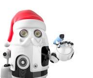 Ρομπότ Άγιος Βασίλης που κρατά μια μάνδρα απομονωμένος Περιέχει το μονοπάτι ψαλιδίσματος διανυσματική απεικόνιση