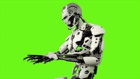Ρομπότ αρρενωπό παίζοντας το πιάνο Ρεαλιστικός περιτυλίχτηκε κίνηση στο πράσινο υπόβαθρο οθόνης 4K απόθεμα βίντεο