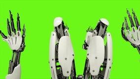 Ρομπότ αρρενωπό παίζοντας το πιάνο Ρεαλιστικός περιτυλίχτηκε κίνηση στο πράσινο υπόβαθρο οθόνης 4K απεικόνιση αποθεμάτων