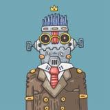 Ρομπότ γραφείων κινούμενων σχεδίων Αστείος διευθυντής ρομπότ Ελεύθερη απεικόνιση δικαιώματος