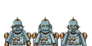 Ρομπότ Δεν βλέπω τίποτα, δεν ακούω τίποτα, για παράδειγμα ότι τίποτα απομονώστε στο άσπρο υπόβαθρο απεικόνιση αποθεμάτων