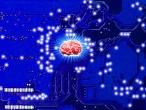 Ρομπότ ελέγχου κύκλων AI τεχνολογίας εγκεφάλου τα ρομπότ βιομηχανίας κατασκευής και μηχανικός στοκ εικόνες