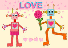 Ρομπότ ερωτευμένα Στοκ Φωτογραφία