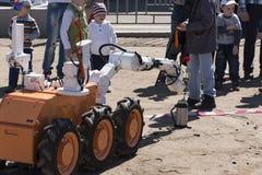 Ρομπότ και ένα κόκκινο γαρίφαλο Στοκ Εικόνα