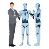 Ρομπότ και επιχειρηματίας Humanoid ελεύθερη απεικόνιση δικαιώματος