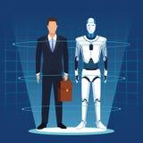 Ρομπότ και επιχειρηματίας Humanoid απεικόνιση αποθεμάτων