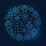 Ρομπότ και AI γύρω από την μπλε απεικόνιση Στοκ φωτογραφίες με δικαίωμα ελεύθερης χρήσης